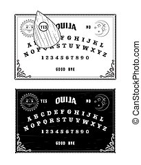 Ouija boards, black and white, isolated vector graphic...