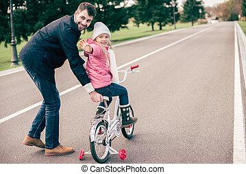 娘, 乗車, 自転車, 教授, 父