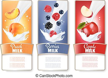Set of three labels of fruit and berries in milk splashes....