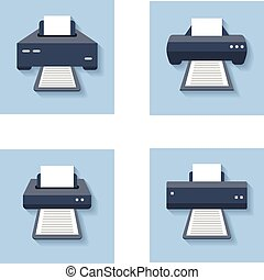 Print flat icons. Office paper printer, scanner and...