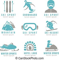 Ski resort and mountain hotel logo set with skiing...
