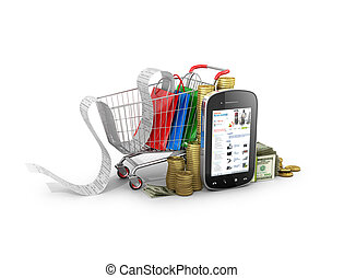 The concept of buying over the Internet. Supermarket trolley...