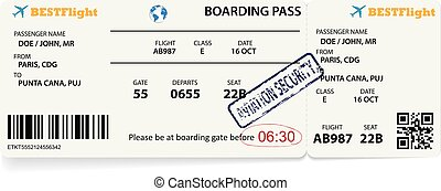 Boarding pass ticket for traveling by plane.