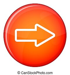 Cursor to right icon, flat style - Cursor to right icon in...