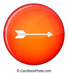 Long arrow icon, flat style - Long arrow icon in red circle...