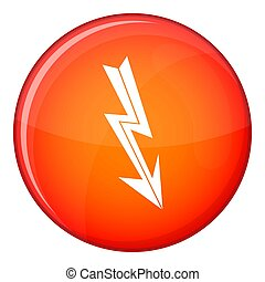 Arrow lightning icon, flat style - Arrow lightning icon in...