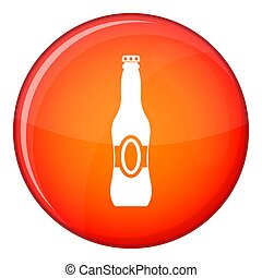 Bottle of beer icon, flat style - Bottle of beer icon in red...