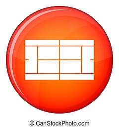 Tennis court icon, flat style - Tennis court icon in red...