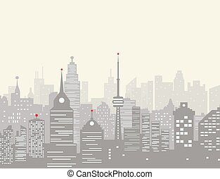 Foggy city skyline silhouette. skyscappers, towers, office...