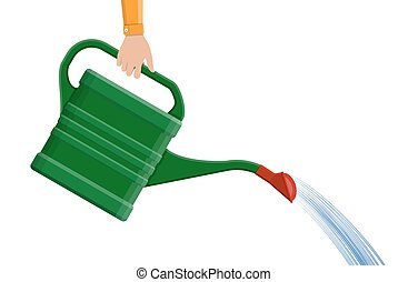 Hand with green plastic watering can