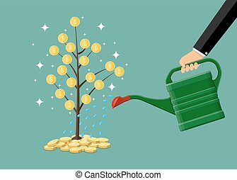 hand watering money coin tree with can