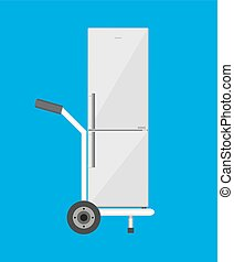 Metallic hand truck with freezer. delivery concept. vector...