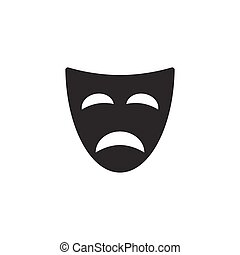 Tragedy mask icon on white background