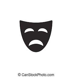 Tragedy mask icon on white background