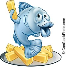 Fish and Chips Cartoon - A cartoon fish and chips mascot...