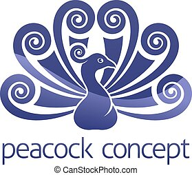 Peacock Bird Peafowl Icon Concept - A peacock bird peafowl...