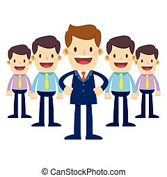 Businessman in Suit Become a Team Leader - Vector stock of a...