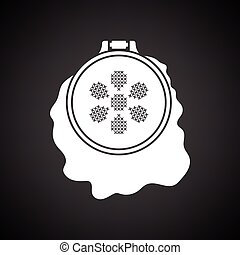 Sewing hoop icon. Black background with white. Vector...