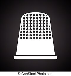 Tailor thimble icon. Black background with white. Vector...