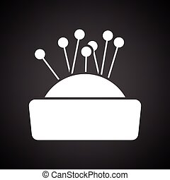 Pin cushion icon. Black background with white. Vector...