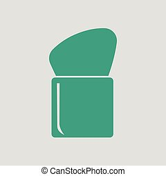 Make Up brush icon. Gray background with green. Vector...