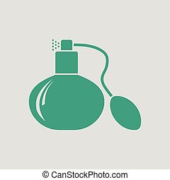 Cologne spray icon. Gray background with green. Vector...