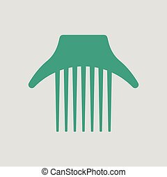 Comb icon. Gray background with green. Vector illustration.