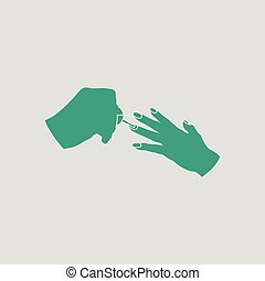 Manicure icon. Gray background with green. Vector...