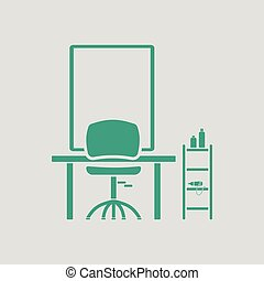 Barbershop icon. Gray background with green. Vector...