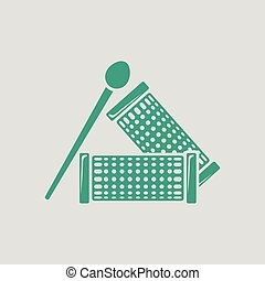 Hair curlers icon. Gray background with green. Vector...