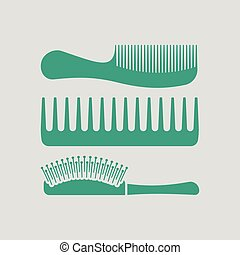 Hairbrush icon. Gray background with green. Vector...