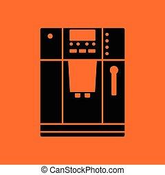 Kitchen coffee machine icon. Orange background with black....