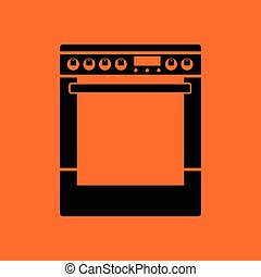 Kitchen main stove unit icon. Orange background with black....