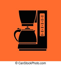 Kitchen coffee machine icon. Orange background with black....