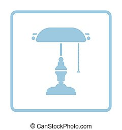 Writer's lamp icon. Blue frame design. Vector illustration.