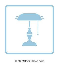 Writer's lamp icon. Blue frame design. Vector illustration.