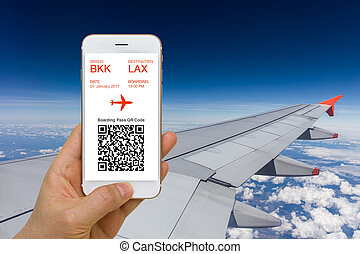 Application of E-Ticket or Boarding Pass Concept for Traveling by Plane on Smartphone Screen
