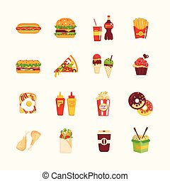 Fast Food Cafe Menu Icons Set - Fast Food Cafe Menu - set of...