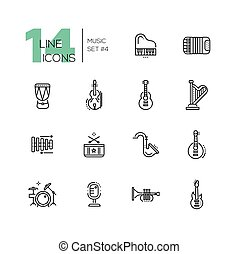 Musical Instruments - line icons set - Musical Instruments -...