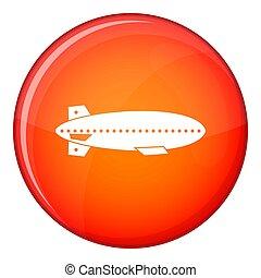 dirigible, icono, globo, estilo, plano