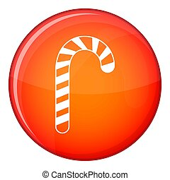 Candy cane icon, flat style - Candy cane icon in red circle...