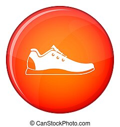 Athletic shoe icon, flat style - Athletic shoe icon in red...