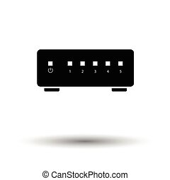 Ethernet switch icon. Black background with white. Vector...