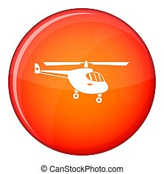 Helicopter icon, flat style - Helicopter icon in red circle...