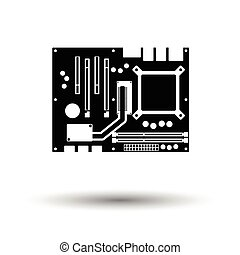 Motherboard icon. Black background with white. Vector...