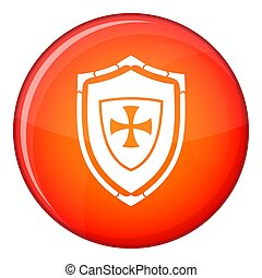 Shield with cross icon, flat style - Shield with cross icon...