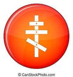 Orthodox cross icon, flat style - Orthodox cross icon in red...