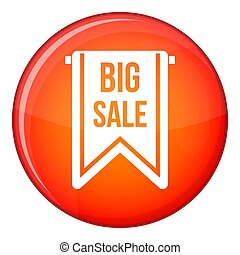 Big sale banner icon, flat style - Big sale banner icon in...