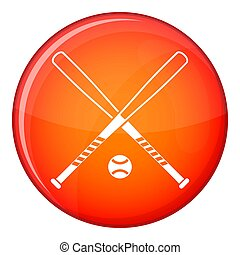 Crossed baseball bats and ball icon, flat style - Crossed...