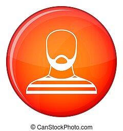 Bearded man in prison garb icon, flat style - Bearded man in...